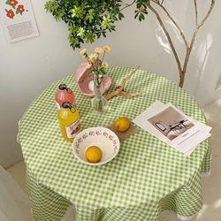 주방 식탁보 린넨 원형 체크무늬 감성 테이블매트