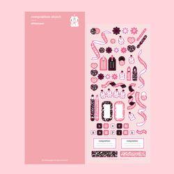 어리틀페퍼  컴포지션컨페티(핑크) 씰스티커