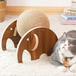 스트레스 해소 고양이 원목 코끼리 스크래치볼