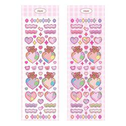 로맨틱핑크 R&W 지구곰 핑크 씰스티커