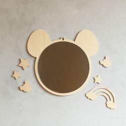 생쥐 원목 아크릴 안전거울 유아 아이방 벽거울
