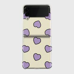 lavender heart fluffy Z플립3 클리어하드케이스