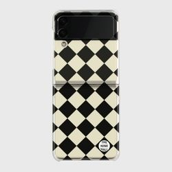 black checkerboard Z플립3 클리어하드케이스