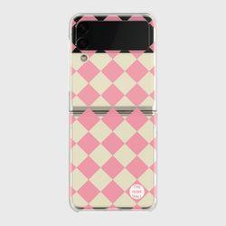 peach checkerboard Z플립3 클리어하드케이스