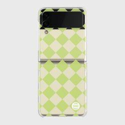 lime checkerboard Z플립3 클리어하드케이스