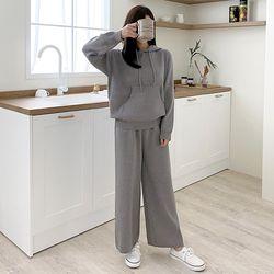 [Set] Hooded Knit   Wide Pants
