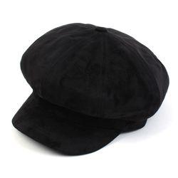 Soft Suade Black Newsboy Cap