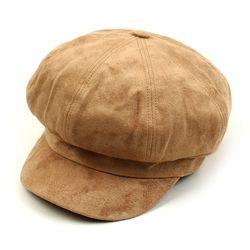 Soft Suade Beige Newsboy Cap