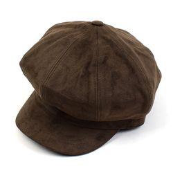 Soft Suade Brown Newsboy Cap