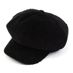 Bold Corduroy Black Newsboy Cap