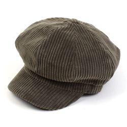 Bold Corduroy Khaki Newsboy Cap