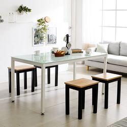 T8 식탁의자세트 로디 1200 철제 4인 테이블