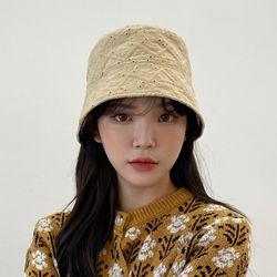 펀칭꽃스티치벙거지 버킷햇 모자