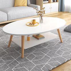 노르딕 타원형 원목 소파 거실 테이블