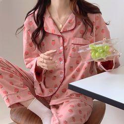 딸기 핑크 파자마 잠옷