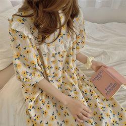 옐로우 데이지 원피스 파자마 잠옷