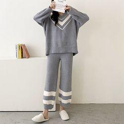 Very Soft Home V-Neck Knit Pajama Set  - 극세사