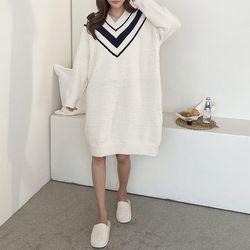 Very Soft Home V-Neck Knit Dress - 극세사