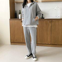 [Set] Hooded Pocket Sweatshirt   Straight Pants
