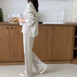 [Set] Waffle Tee   Wide Pants