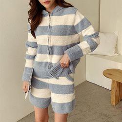 [무료배송] N Very Soft Home Stripe Hood Zip-Up - 극세사