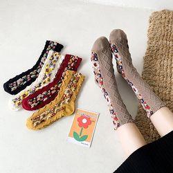 로이크 꽃무늬 중목 여성 패션양말