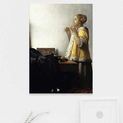 주문제작 액자 Vermeer 진주 목걸이를 한 여인