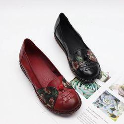 여자 가을 젤리 밑장 꽃무늬 포인트 중년여성 플랫슈