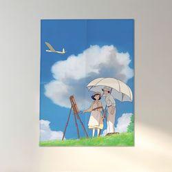 애니메이션 영화 패브릭 포스터 가리개 액자 바람이 분다