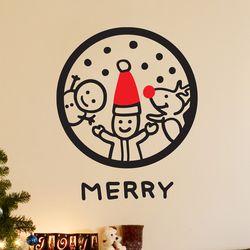 동그라미 속 산타 눈사람 루돌프 merry  스티커 small