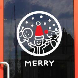 동그라미 속 산타 눈사람 루돌프 merry  스티커 large