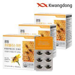 광동 프로폴리스 아연 60캡슐 3박스(6개월분) 플라보노이드