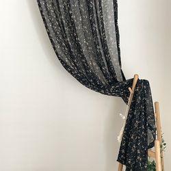 라넌큘러스 플라워 블랙 빈티지 쉬폰커튼(M 세로180cm)