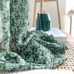 쉐비 플라워가든 올리비아그린 빈티지 쉬폰커튼(M 세로180cm)
