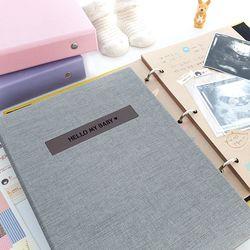 프리미엄 이니셜 초음파앨범(임신다이어리)A5 바인더-그레이