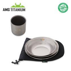 에이엠지티타늄 신형 접시세트(3ps케이스)티탄이중컵(220ml)