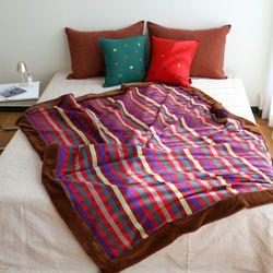 극세사 벨보아 대형 담요 블랭킷 싱글 초코레드 (144x200)