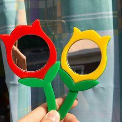 튤립 거울 키링 가방 키홀더 열쇠고리 꽃 2color