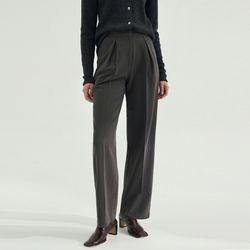 Semi Wide Pin tuck Slacks - Gray