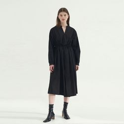 Pleats Point Cotton Dress - Black