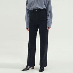 LM02 Straight Long Black Jeans - Black