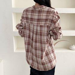 가을 브론즈 체크 면100% 기본 이너 셔츠