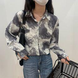 가을 링스 마블 패턴 데일리 여친룩 화사한 긴팔 셔츠