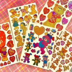 곰돌이 홀로그램 스티커 5종 빈티지 레트로 하이틴 감성 스티커