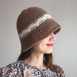 컬러 배색 뜨개 니트 벙거지 모자 버킷햇 (5color)