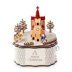 회전 우드오르골 메리크리스마스 교회(컬러)(YM979)