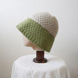배색 뜨개 니트 벙거지 모자 버킷햇 (4color)