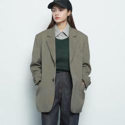 MW636 tweed check single jacket khaki