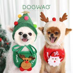 도그웨그 크리스마스 트리 루돌프 모자 케이프 강아지 스카프