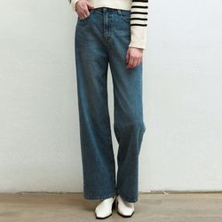 NATURAL WASHED WIDE JEANS [BLUE]